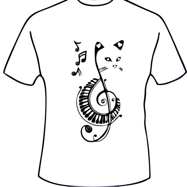 T shirt avec un flocage chat musique