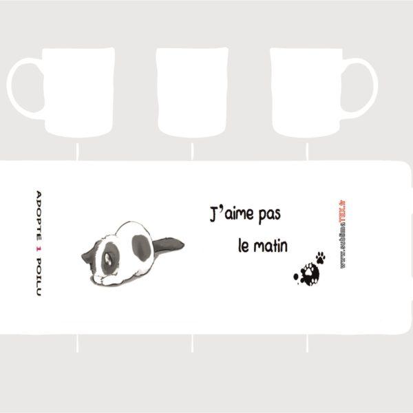 mug je n'aime pas le matin création Adopte 1 poilu vendu par sublimatex au profit de l'association