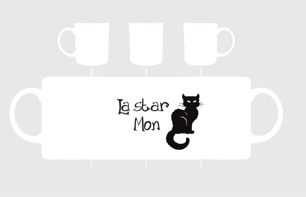 mug pocelaine la star mon chat