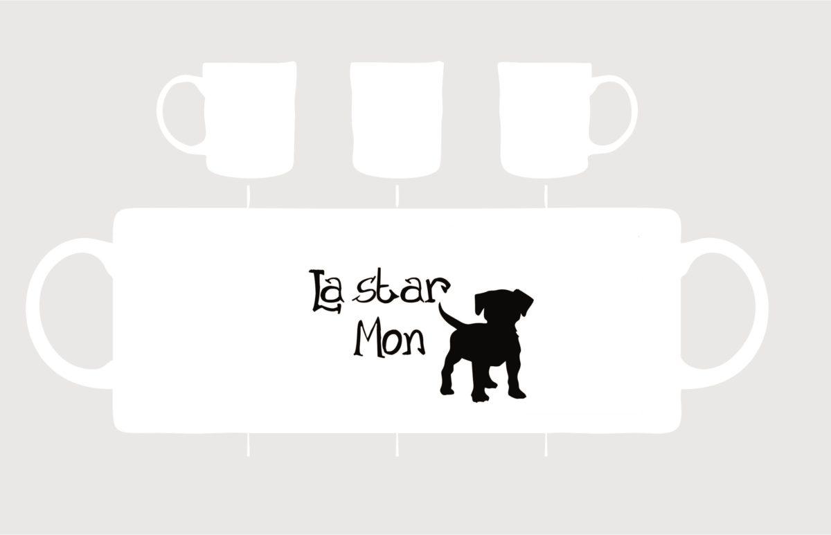 mug en porcelaine blanche la star mon chien