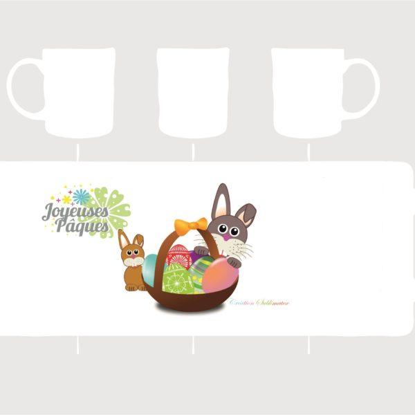 mug porcelaine panier d'oeufs et lapin