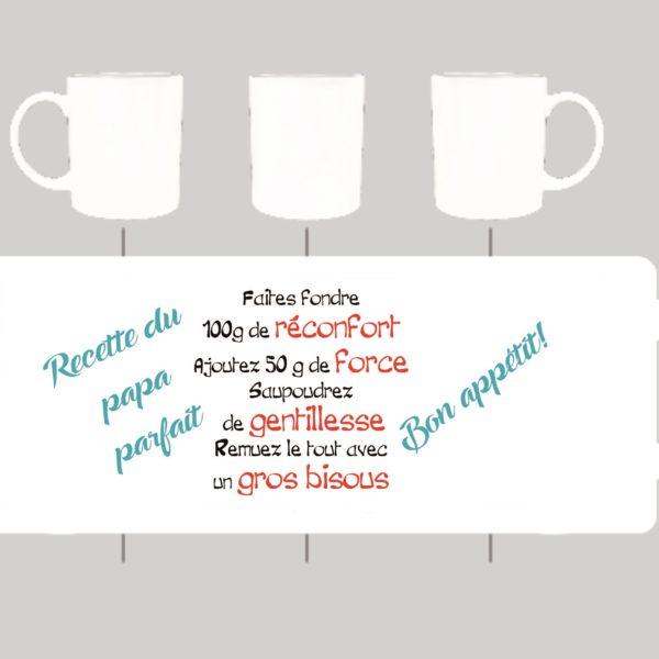 mug porcealine avec la recette du papa parfait en vente sur sublimatex