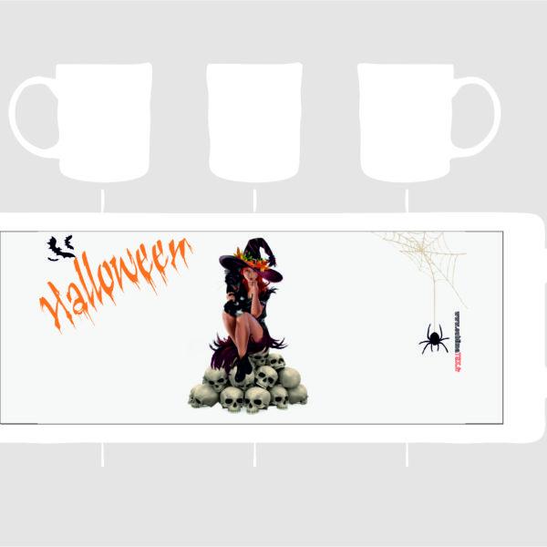 mug sorcière assis sur crane