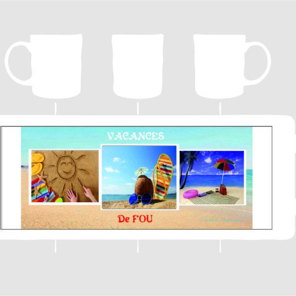 modèle de mug vacances fde fou avec trois photo
