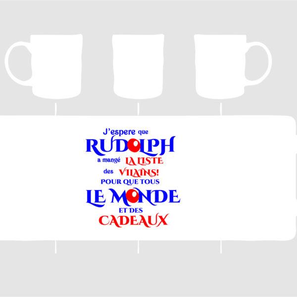 joli mug personnalisé pour noël avec une phrase sur Rudolph création sublimatex