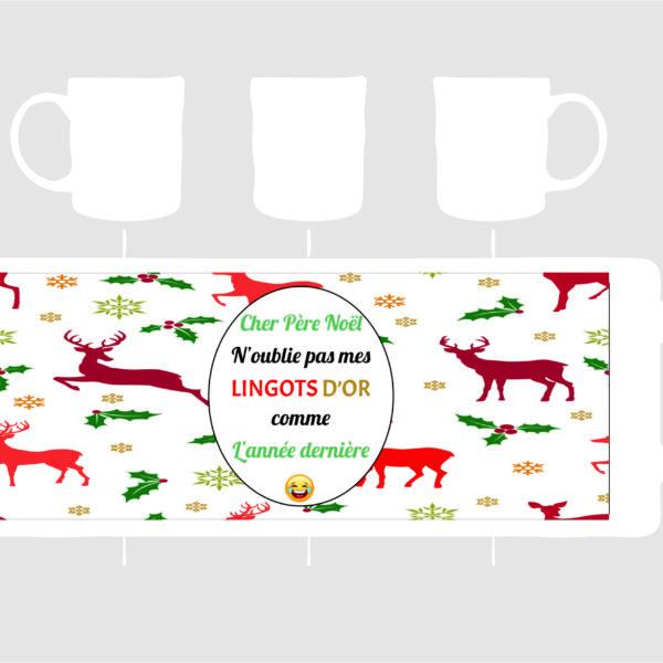 mug porcelaine avec une demande pourle père Noël une création sublimatex situé dans le gard