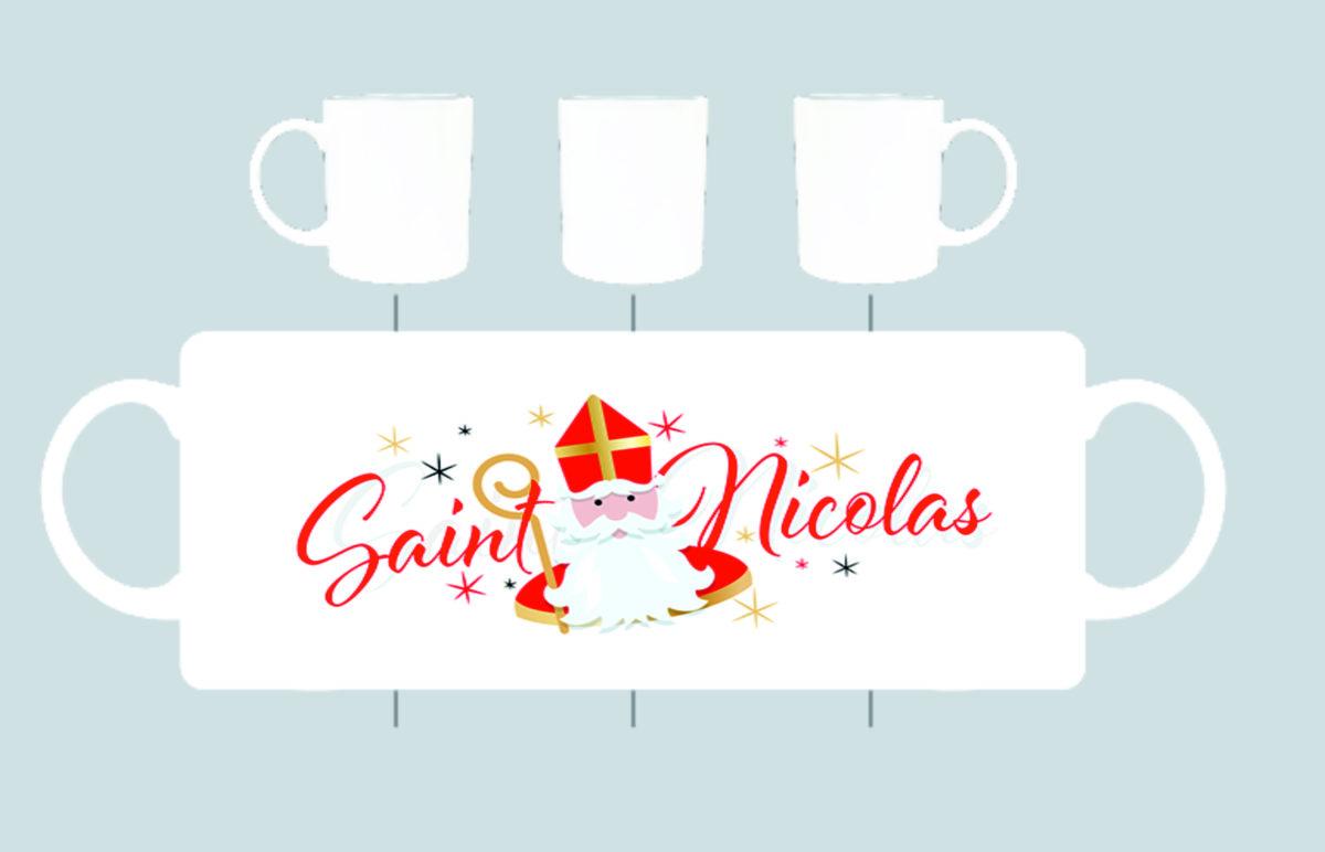 un mug en porcelaine blanche avec une image de saint nicolas création sublimatex