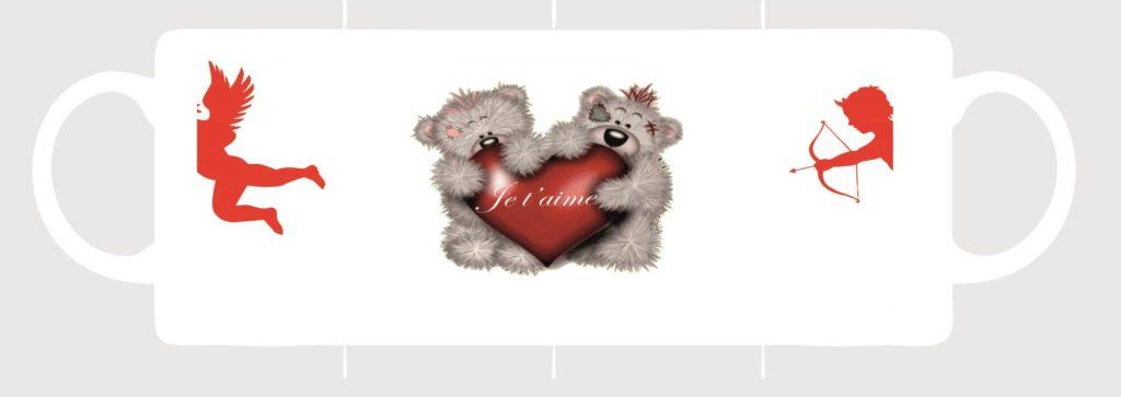 un mug porcelaine avec une image ourson amoureux créeation sublimatex